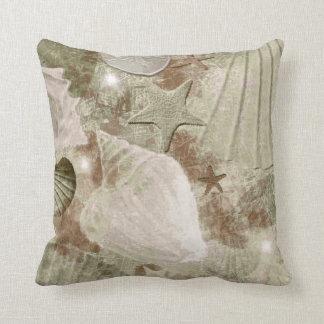 Distressed Tan Seashell Pillow