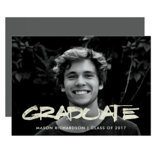 Distressed Text | Photo Graduation Party Card