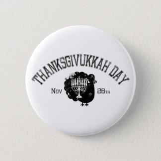 Distressed Thanksgivukkah Day Turkey Menorah 6 Cm Round Badge