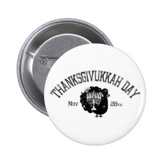 Distressed Thanksgivukkah Day Turkey Menorah Pinback Button