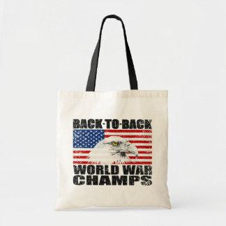 Distressed U.S. Flag & Eagle World War Champs Budget Tote Bag