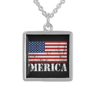 Distressed U.S. Flag 'MERICA Square Pendant Necklace
