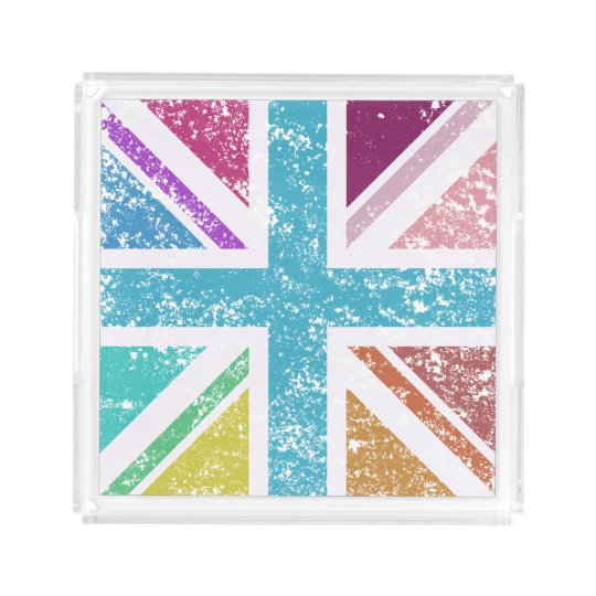 Distressed Union Flag Multicol Square Acrylic Tray