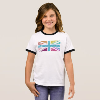 Distressed Union Flag Multicolored Panel Ringer T-Shirt