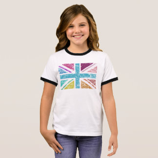Distressed Union Flag Multicolored Ringer T-Shirt
