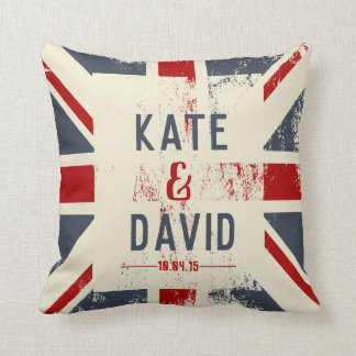 Distressed Union Jack Couple's Names Wedding Gift Cushion
