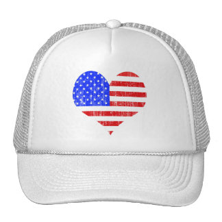 DISTRESSED US FLAG HEART MESH HAT
