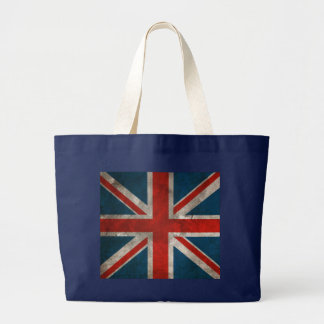 Distressed Vintage Classic British Union Jack flag Large Tote Bag