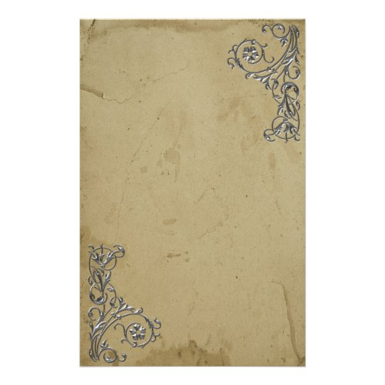 Distressed Vintage Silver Stationery