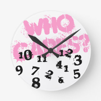 Distressed wall clock | Pink who cares graffiti