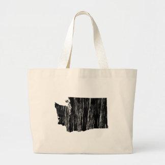Distressed Washington State Outline Large Tote Bag