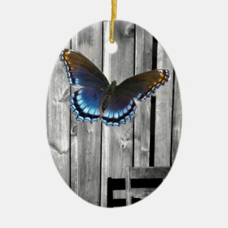 Distressed Weathered Wood Boards Blue butterfly Ceramic Oval Decoration