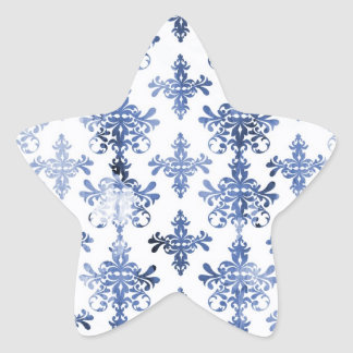 distressed white and royal blue damask pattern star sticker