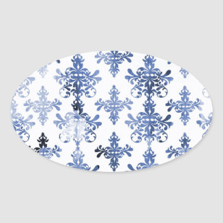 distressed white and royal blue damask pattern stickers