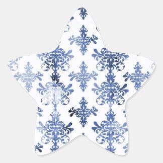 distressed white and royal blue damask pattern sticker