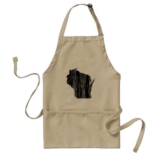 Distressed Wisconsin State Outline Standard Apron