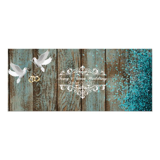 Distressed Wood & Doves Wedding RSVP w/ glitter