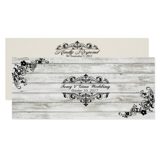 Distressed Wood & Lace Wedding RSVP Cards