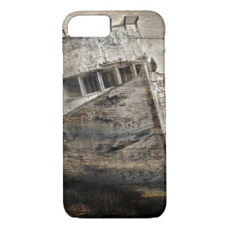 Distressed wood Nautical Sea Shore Rustic sailboat iPhone 8/7 Case