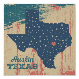 Distressed Wood Poster - Austin Texas
