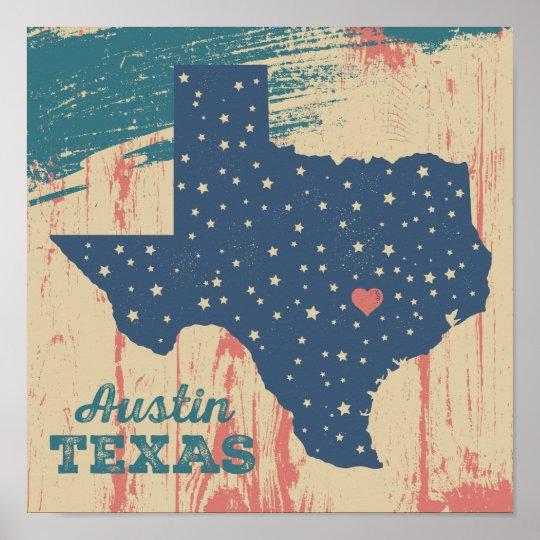 Distressed Wood Poster - Austin Texas