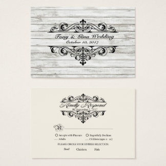 Distressed Wood Wedding RSVP Card