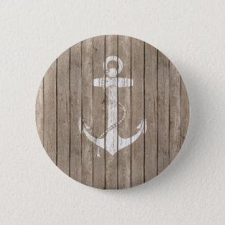 Distressed Wood with Anchor 6 Cm Round Badge