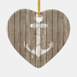 Distressed Wood with Anchor Ceramic Heart Decoration