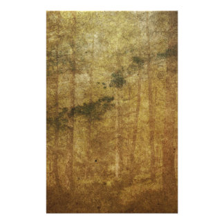 Distressed worn-out vintage brown forest art personalised stationery