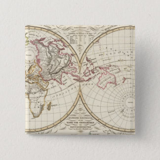 Distribution Map of Rivers and Mountains 15 Cm Square Badge