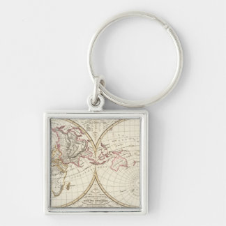 Distribution Map of Rivers and Mountains Silver-Colored Square Key Ring