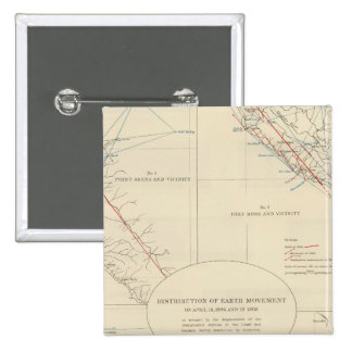 Distribution of earth movement in California 15 Cm Square Badge