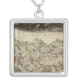 District boundaries silver plated necklace