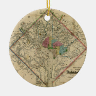District of Columbia Civil War Era Map Double-Sided Ceramic Round Christmas Ornament