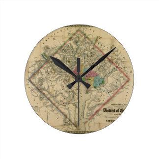 District of Columbia Civil War Era Map Round Clock