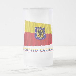 Distrito Capital Waving Flag with Name 16 Oz Frosted Glass Beer Mug