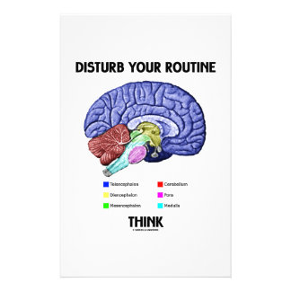Disturb Your Routine Think (Brain Anatomy) Personalised Stationery