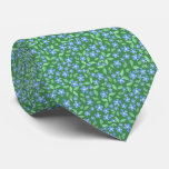 Ditsy Bright Blue Periwinkles on Green Floral Tie