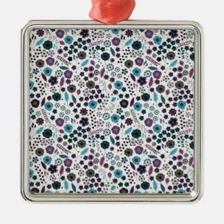 Ditsy Floral Pattern in Blue and Purple Christmas Ornament