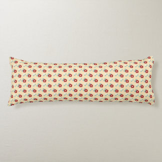 Ditsy Floral Pattern Maroon Teal and Buff Body Cushion