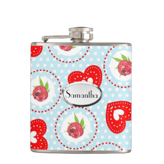 Ditsy Flowers and Hearts Polka Dot Patterned Flask