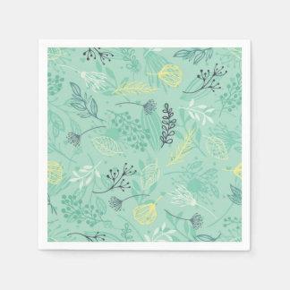 Ditsy Forest Herbs Blue Background   Napkin Disposable Serviette