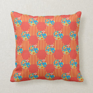Ditsy Orange Floral Patchwork, Polkas and Stripes Cushion