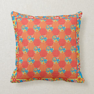 Ditsy Orange Floral Patchwork, Stripes and Polkas Cushion