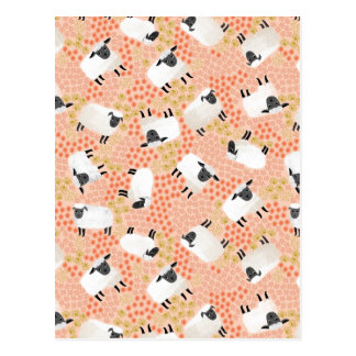 Ditsy Sheep Blush Coral Pink / Andrea Lauren Postcard
