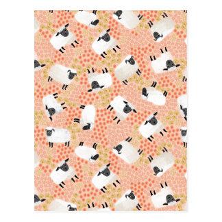 Ditsy Sheep Blush Coral Pink / Andrea Lauren Postcard