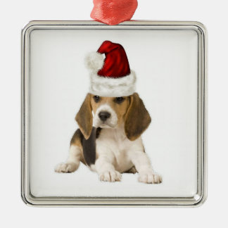 Ditzy Dogs~Original Ornament~Beagle~Christmas Silver-Colored Square Decoration