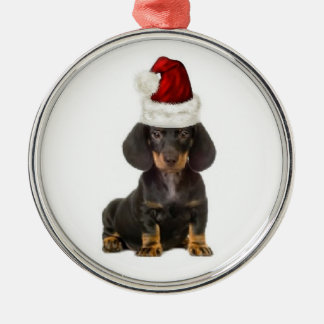 Ditzy Dogs~Original Ornament~Dachshund Silver-Colored Round Decoration