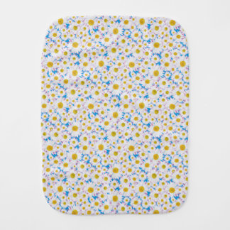 Ditzy White Daisies Pattern on Sky Blue Burp Cloth