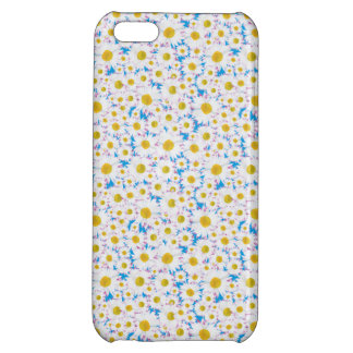 Ditzy White Daisy Pattern on Sky Blue Case For iPhone 5C